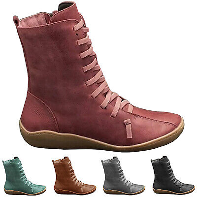 Womens Arch Support Ankle Boots Zip Lace Up Winter Flat Heel Booties Shoes • 15.69£