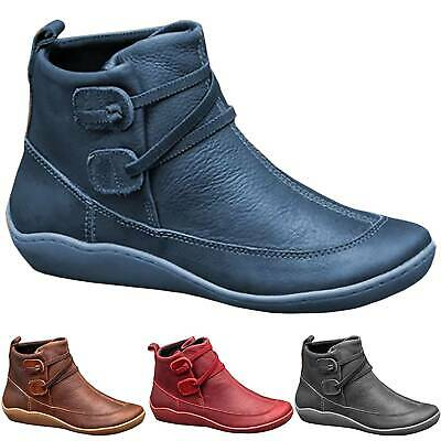 Women ARCH SUPPORT Ankle Boots Ladies Soft Flat Heel Booties Casual  Comfy Shoes • 13.29£