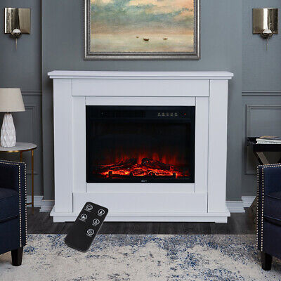 £99.95 • Buy White Electric Fire Fireplace Set Floor Free Standing Surround Led Light 30 Inch