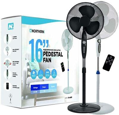 """£30.99 • Buy Electric Oscillating Pedestal Air Cooling Fan 16"""" With Remote Control Standing"""