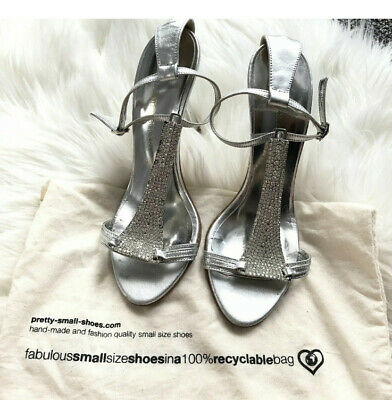 Ladies Pretty Small Shoes Size 2 Silver Diamond Sparkle RRP £179 • 75£