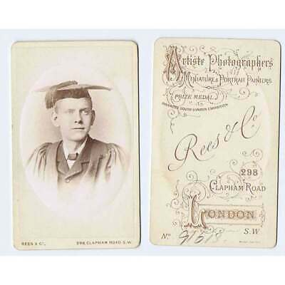 CDV Young Man Wearing A Mortar Board Carte De Visite Photo By Rees Of London • 5.25£