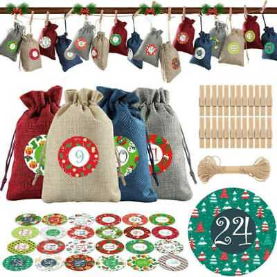 Christmas Tree Stocking Drawstring Bag Hanging Topper Ornament Xmas Decor Gifts • 6.49£