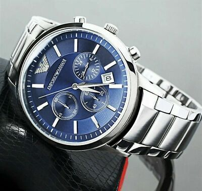 £69.99 • Buy New Genuine Emporio Armani Ar2448 Blue Dial Stainless Steel Mens Watch Uk Gift