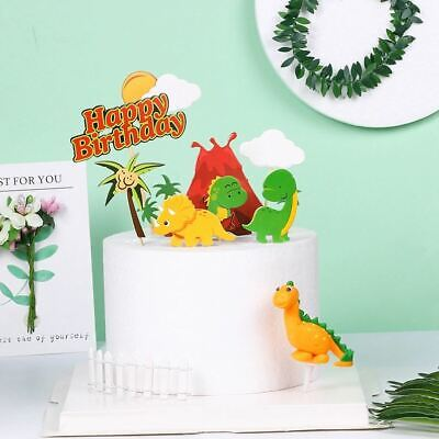 £4.69 • Buy Dinosaur Cupcake Picks Cake Toppers / Flags Birthday Party Decorations Kids 7pc