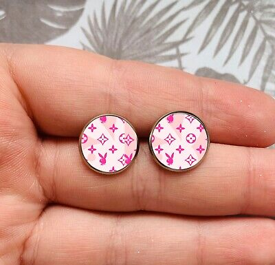 MonoGram Pink Stud Studs Earrings Play Boy Logo Harajuku KPOP Hipster Y2k NEW • 3.99£