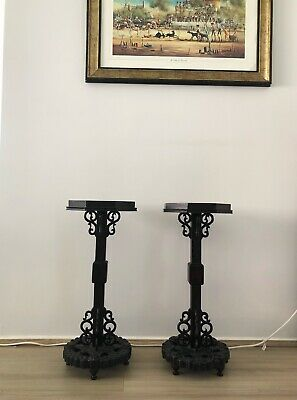 AU290 • Buy Pair Antique Pedestal Side Table Plant Stand Tea Table Asian Style Caved Wood