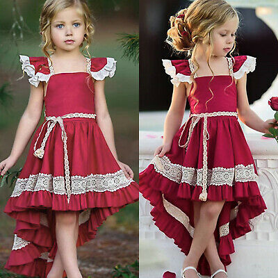 Kids Flower Girls Wedding Party Dress Pageant Prom High Low Dresses Clothing Red • 10.49£
