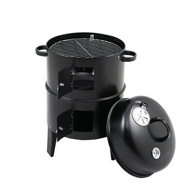 Garden BBQ Smoker Food Cooking Charcoal Grill Barbecue Smoking Drum Oven Stand • 38.95£