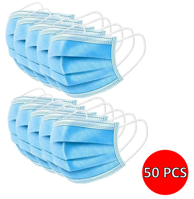 50x Disposable Face Masks Blue 3PLY Soft Mask Breathable Mouth Cover Guard UK  • 8.95£