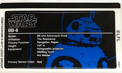 Lego Star Wars Sculptures STICKER SHEET ONLY For Lego Set 75187 BB-8 - Brand New • 7.99£