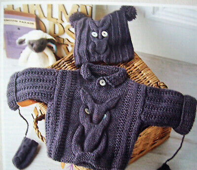 Boys Girls Cable Owl Sweater Jumper Hat Mittens KNITTING PATTERN 4 Ply 16 - 20  • 1.99£