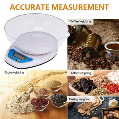 Portable 5KG Digital Kitchen Scales LCD Electronic Cooking Food Measuring Bowl • 8.98£