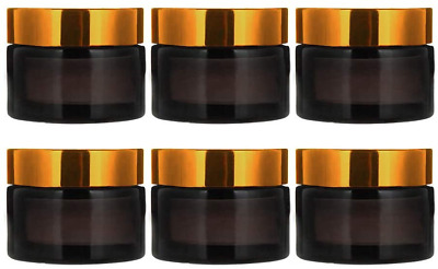 INHEMI 30ml Cosmetic Glass Jars With Gold Lids,Empty Amber Glass Jars For Face • 13.34£