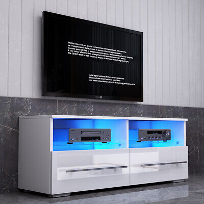 100cm White TV Cabinet Stand High Gloss 2 Drawers Glass Shelves Storage LED Unit • 61.99£
