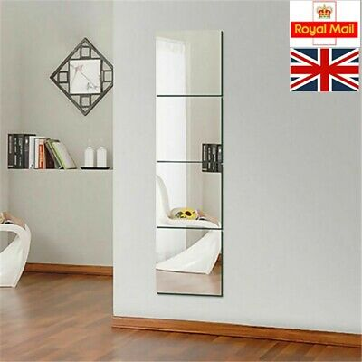 30x30cm Mirror Tiles Wall Sticker Square Self Adhesive Stick On DIY Home UK • 16.29£