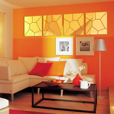 4pcs/set 8 * 8 Inches 3D Acrylic Modern Wall Mirror Stickers DIY Decal A2K7 • 5.40£