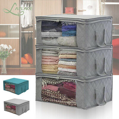 3PCS Underbed Clothes Storage Bags Ziped Organizer Wardrobe Cube Closet Boxes • 4.89£