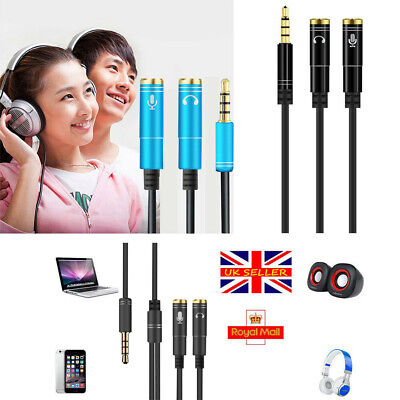 Y Splitter Jack Cable W Separate Audio And Mic Headphone 3.5mm Headset Adapter • 2.68£