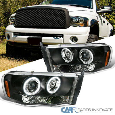 $131.95 • Buy Dodge For 02-05 Ram 1500 2500 3500 Pickup Black LED Halo Projector Headlights