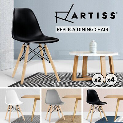 AU95.95 • Buy Artiss Dining Chairs Replica Kitchen Chair DSW Cafe Beech White Black X2/4