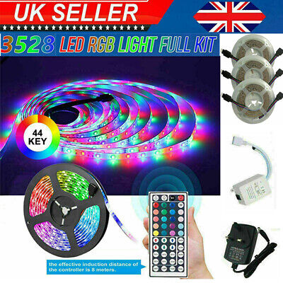 RGB 3528 LED Strip Lights Colour Changing With IR Remote Power Supply 12V 5~20M • 11.99£