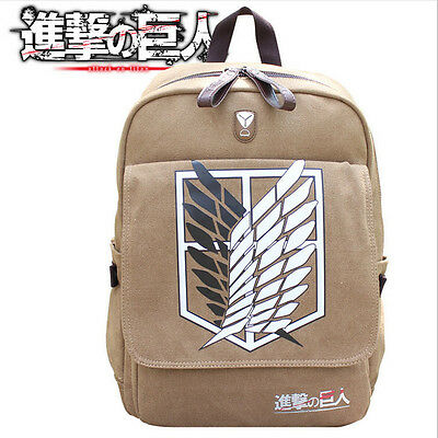 Anime Attack On Titan School Book Bag Canvas Backpack Rucksack Cosplay Prop • 18.99£