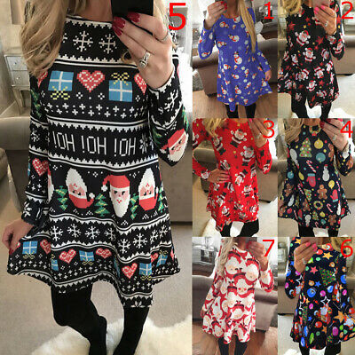 Womens Party Costume Long Sleeve Swing Christmas Stretch Ladies Xmas Mini Dress • 9.89£