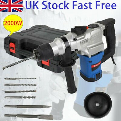 £58.99 • Buy 2000W Electric Impat Hammer Drill Demolition Rotary Chuck SDS Plus Set 2 Chisels
