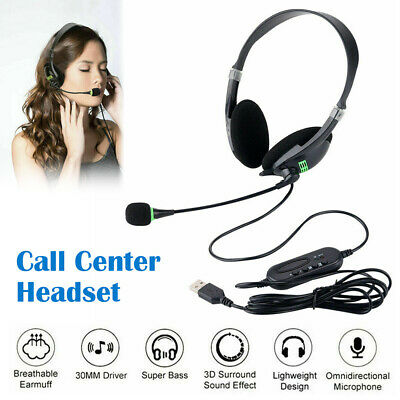 USB Computer Headset Wired Over Ear Headphones For Call Center PC Laptop Skype • 10.98£