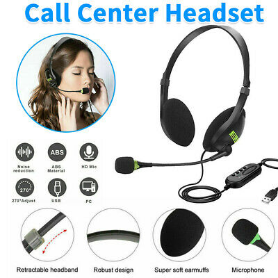USB Computer Headset Wired Over Ear Headphones For Call Center PC Laptop Skype • 8.49£