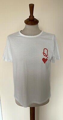 Women's Shein Queen Of Hearts Graphic T-Shirt White Short Sleeve Size Small • 3£
