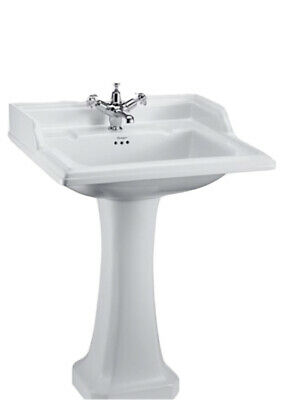 Burlington Classic Square 65cm Basin With Invisible Overflow/Waste & Pedestal • 238£