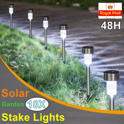 10X Solar Powered Stainless Steel Led Post Stake Light Garden Patio Outdoor Lawn • 9.79£