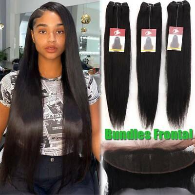 £73.15 • Buy THICK 3Bundles With Frontal Closure Peruvian Virgin Human Hair Weave Pre Plucked