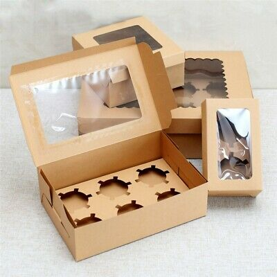 AU15.99 • Buy Cupcake Box 4/6/12 Holes 12 Pack Window Face Cake Boxes Gift Cupcake Boxes
