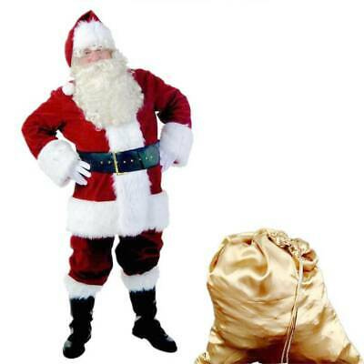 £22.99 • Buy Santa Claus Costume Father Outfit Christmas Flannel Suit Mens Adult Fancy Dress