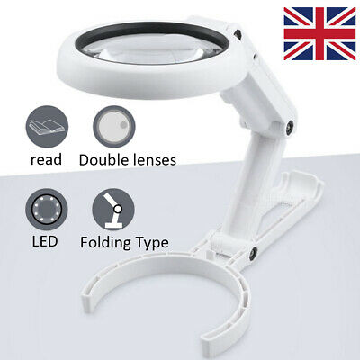 Large Magnifying Glass With Light 8 LED Magnifier Foldable Stand Desk Read White • 8.45£
