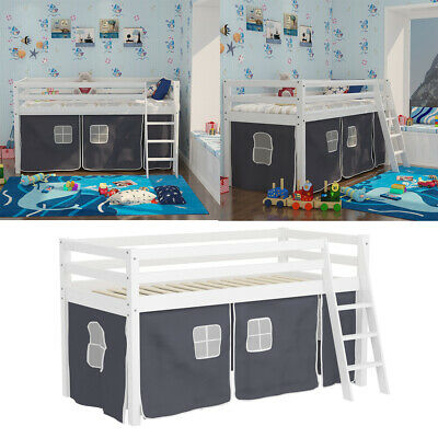 Boys Girls Cabin Loft Bed Childrens Mid Sleeper Bunk Bed Kids Single Bed W/Tent • 189.95£