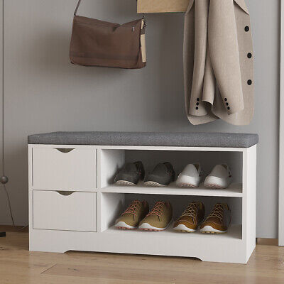 Shoes Rack Hallway Shoe Storage Bench Cabinet Seat With Drawer Padded Cushion • 47.99£