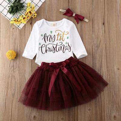 2020 My 1st Christmas Baby Girls Outfits Tops Romper+Tutu Skirt Clothes UK • 11.99£