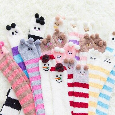 Women Cartoon Over Knee High Long Knit Socks Soft Breathable Thigh Stockings • 3.99£