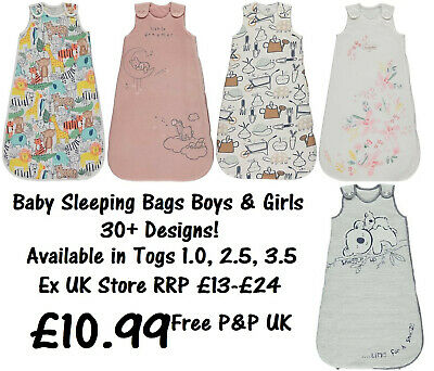 BABY SLEEPING BAG BOYS GIRLS EX UK STORE 1.0 - 3.5 Tog 0M-3Y COTTON BRAND NEW • 10.99£