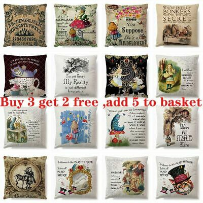 ALICE IN WONDERLAND Cushion Cover Pillow Case Cotton Square Vintage Gift 18  UK • 4.29£
