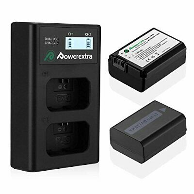 Powerextra 2 Pack NP-FW50 Replacement Battery And Dual LCD Battery Charger • 24.99£