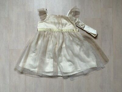 £12 • Buy Baby Girls' Occasion Gold Tulle Dress With Matching Headband - 3-6 Months NEW