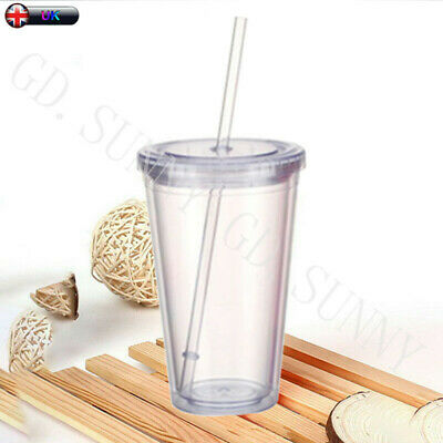 £8.59 • Buy 500ml Double Walled Plastic Cup With Lid And Straw Travel Cold Drinks Insulated