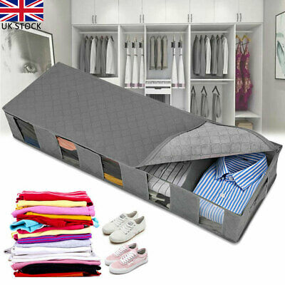 UK Large Capacity Under Bed Storage Bag Box 5 Compartments Clothes Organizer New • 8.28£