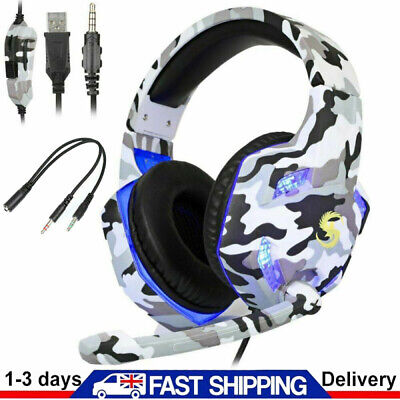 3.5mm K17 Gaming Headset MIC LED Headphones For PC Laptop PS4 Pro Xbox One S 360 • 19.99£