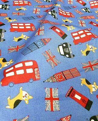 £6.99 • Buy 100% Cotton 44 Wide London Buses, Taxis Big Ben Theme Sold By Meter Free P&p